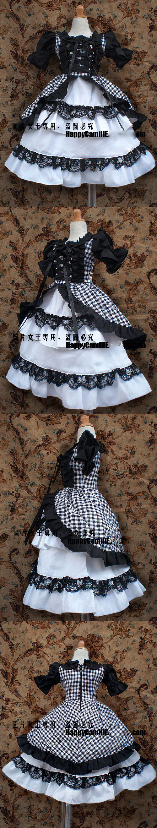 BJD Clothes Black&White Grid Skirt Girl for SD/MSD Ball-jointed Doll