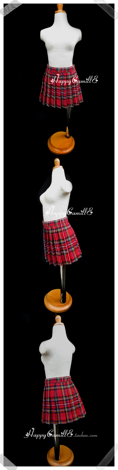 BJD Clothes Red Plaid Skirt Girl for SD/MSD/Yo-SD Ball-jointed Doll