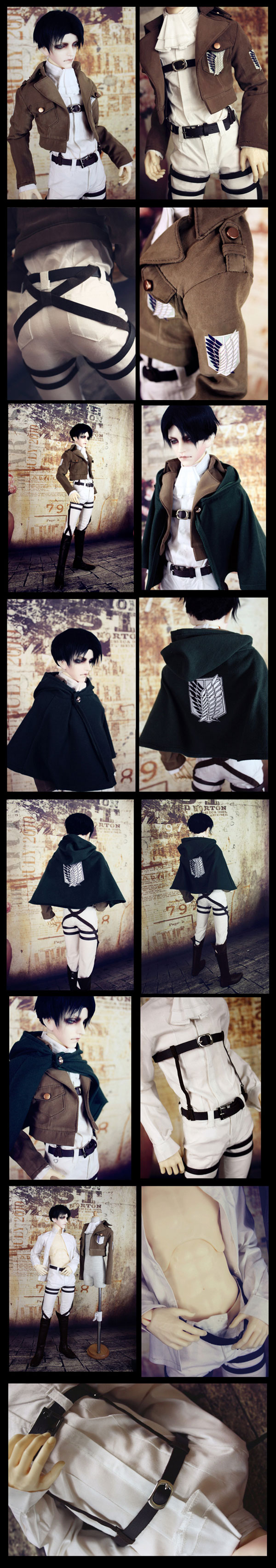 cosplay costume Bjd Clothes shingeki no kyojin for 70cm/SD/MSD Ball-jointed Doll