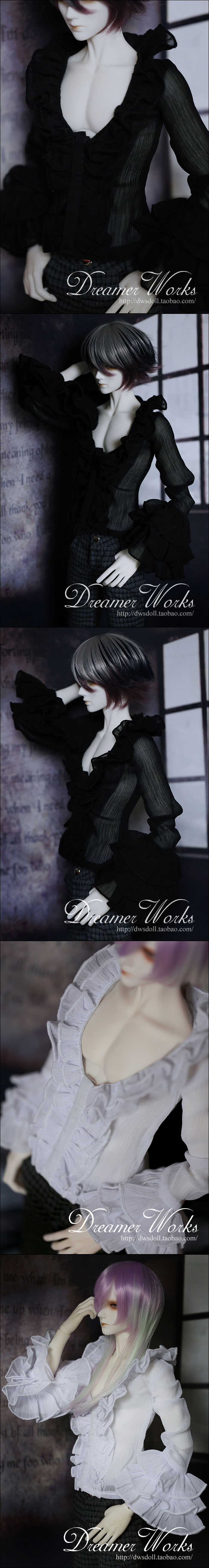 BJD Clothes White/Black Shirt Boy for 70cm/SD/MSD Ball-jointed Doll